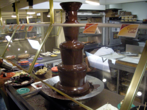 You can put anything you want into the Chocolate Fountain ... food, drinking cups, fingers ... not your wiener though; I found that out the hard way.