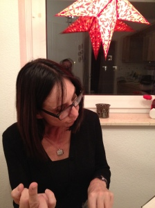 My loving wife, enjoying the holiday spirit.