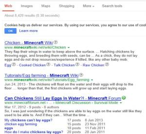"I don't know what you assholes playing mine craft are doing with chicken but stop it.  This is the autofill you get if you type ""will chickens ..."" into Google.  You people are freaks."